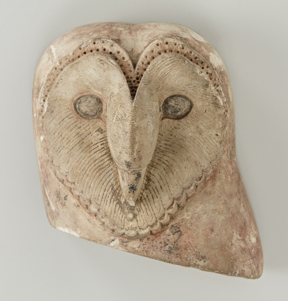Barn Owl sculpture. Owls were unusual in Egyptian art for being depicted face-on instead of in profile.Photo Anna Ressman. Courtesy of the Oriental Institute of the University of Chicago.