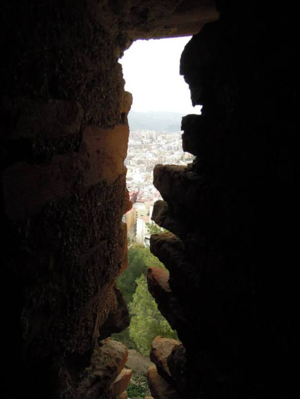 Window slit in Gibralfaro Castle, Málaga. Always keep the openings into your castle as small as possible. Photo by Q. Stedman