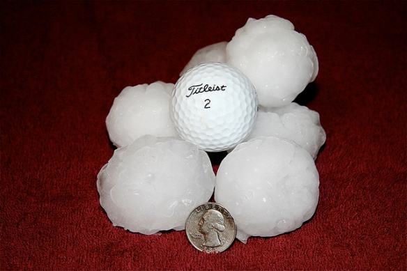 Hail stones larger than gold balls (from North Dakota, not Alberta, but you get the idea). Photo by SnoShuu*